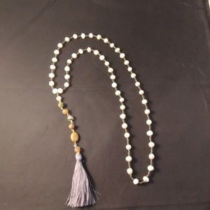 Genuine pearl and glass bead necklace